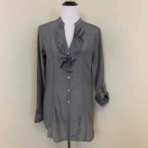 H&M Button Front Ruffled Shirt Size 8